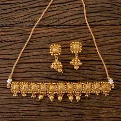 Matte Gold Plated Antique Choker Necklace 202226