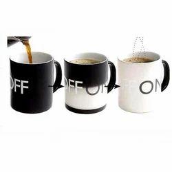 Black Ceramic And Stoneware Magic Coffee Mug, For Home