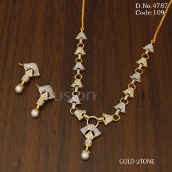 Designer American Diamond Studded Necklace Set