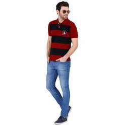 Mens Stripped Polo T Shirt