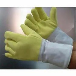 Yellow and Grey Heat Resistant Gloves
