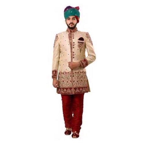 9dd88e6b7c Golden Semi-Stitched Fancy Wedding Sherwani, Rs 25000 /piece | ID ...