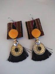 Motifs And Tassels Fabric Earrings