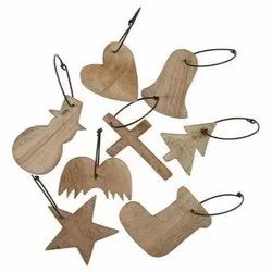 Wooden Christmas Ornaments Set, 2-3 Inch