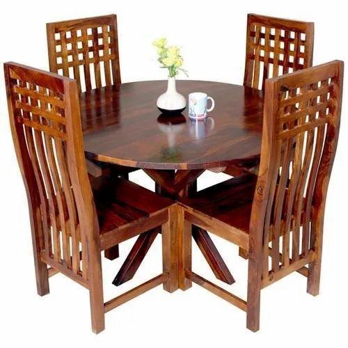 Brown Modern Sheesham Wood Dining Table