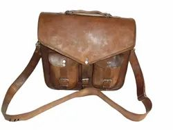 Vintage Leather Laptop Shoulder Bag with Two Front Pockets