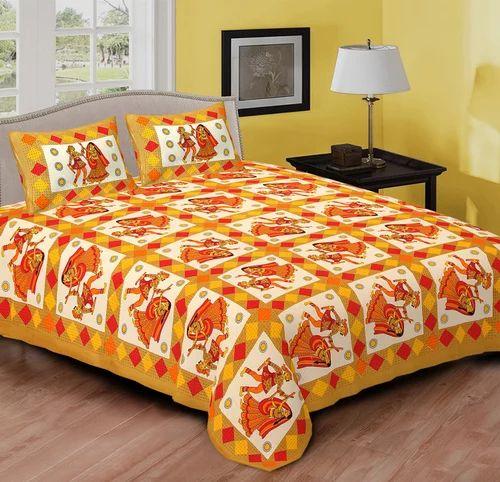 cb3fe635289 Pure Cotton Multicolor Dandiya Rajasthani Print Bed Sheet Set