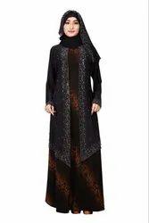 Women's Lycra Animal Printed Abaya Burqa with Attached Chiffon Jacket And Dupatta