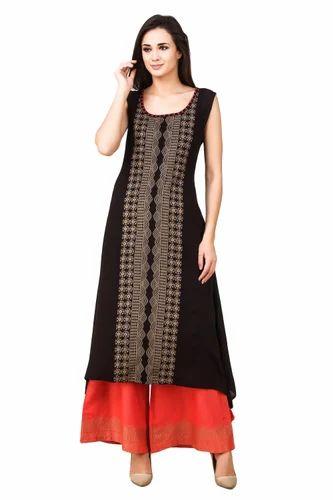 Women  s Premium Cotton A-Line Kurti With Palazzo Pants Set 52a70c856