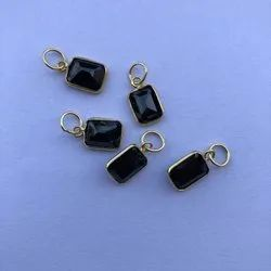 14k Solid Gold Jewelry Natural Black Spinel Gemstone Pendant