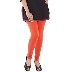 Cotton Lycra Ladies Orange Plain Churidar Leggings