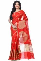 Red Cotton Blend Zari Work Banarasi Saree