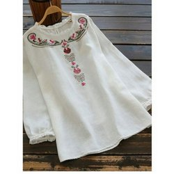 Casual Wear Straight Ladies Cotton Embroidered Short Kurti, Size: M-XXL, Wash Care: Handwash