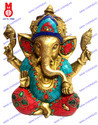 Lord Ganesha W/Big Ears W/Stone & Wire Bead Statue