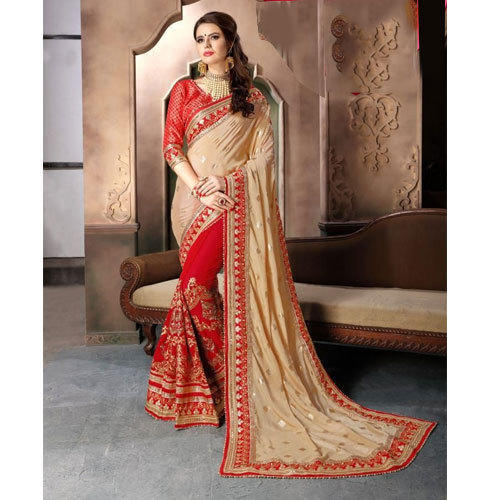 d1ed835b93 Heavy Embroidered Fancy Saree With Blouse Piece, Length: 6.3 M, Rs ...