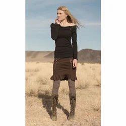 Party Wear Black Ladies Organic Plain Clothing Dress
