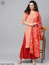 Nayo Coral Pink Printed Straight Kurta with Sahara