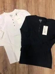 Lycra White, Black Jack And Jones Original Full Sleeves Premium T Shirts