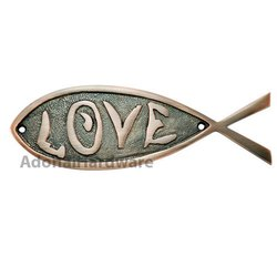 Love Brass Fish Sign