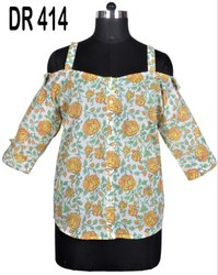 Cotton Hand Block Printed Tunic Women's Spaghetti Short Top DR414