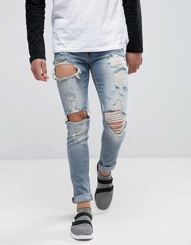 lace up in running shoes elegant shoes Mens Stretch Distressed Jeans