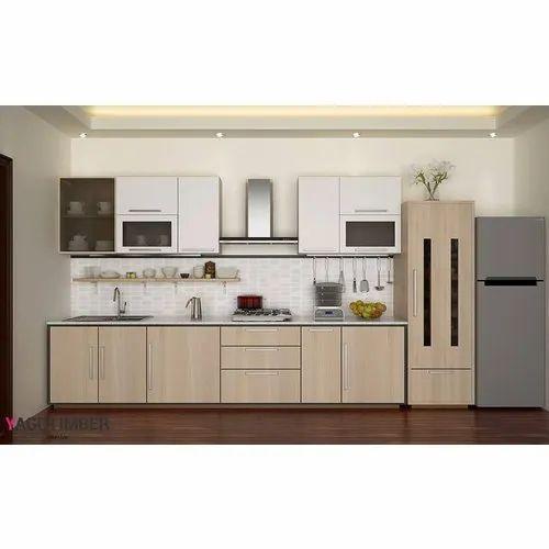 Small Modular Kitchen Designs: Wooden Small Straight Line Modular Kitchen, Rs 2500