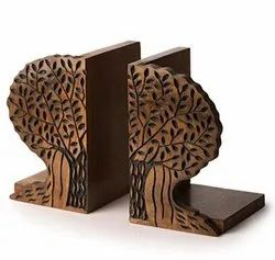 Honeydew Brown Wooden Bookend Showpiece, Packaging Type: Box