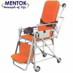 Folding Silver Wheel Chair Cum Stretcher