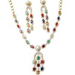 Designer Pendant And Earring Gemstone Jewellery Set