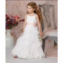 Net, Satin White Trendy Flower Girl Dress