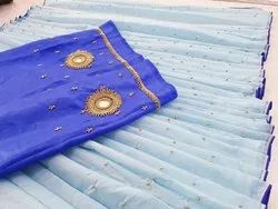 Party Wear Linen Sarees, With blouse piece