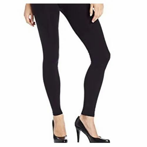 Straight Fit Women Black Plain Cotton Legging