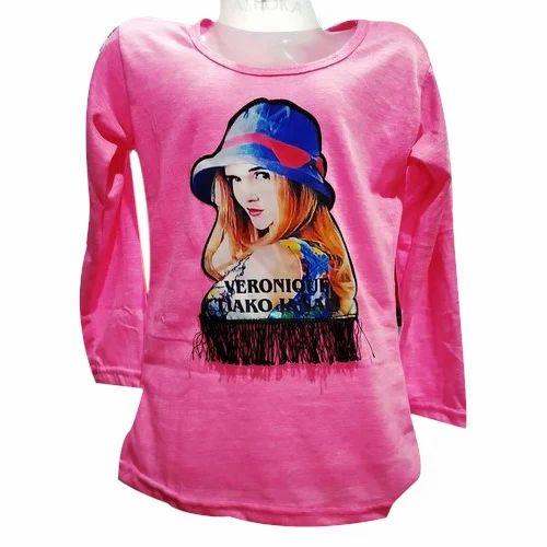 dbd0c675547ad Girls Cotton Full Sleeves Printed Pink Fancy Top