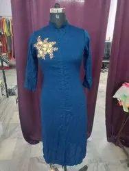 Indian Handmade Embroidery Kurti Plain Solid Women's Dress