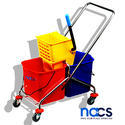 Double Bucket SS Frame Mopping Trolley