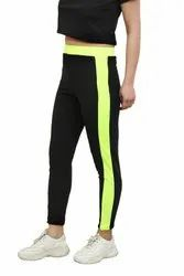 CrazeVilla Polyester Solid Black Treggings With Broad Neon Stripes