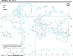 World With Countries For Desk Outline Map