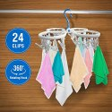 Clip Hanger Foldable, Clothes Dryer with 360 Degrees Rotating Hook and 24 Clip