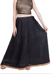 Black Art Silk Cotton Readymade Skirt