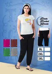 Black Cotton Ladies Plain Harem Pants with Pockets