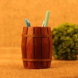 Handmade Wooden Barrel Shape Pen Stand