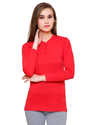 Full Sleeve Pintapple Womens Cotton Henley Red Top