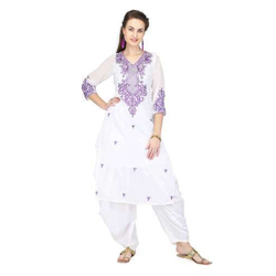 Pret a Porter White/ Purple Ladies Embroidered Kurti With Salwar