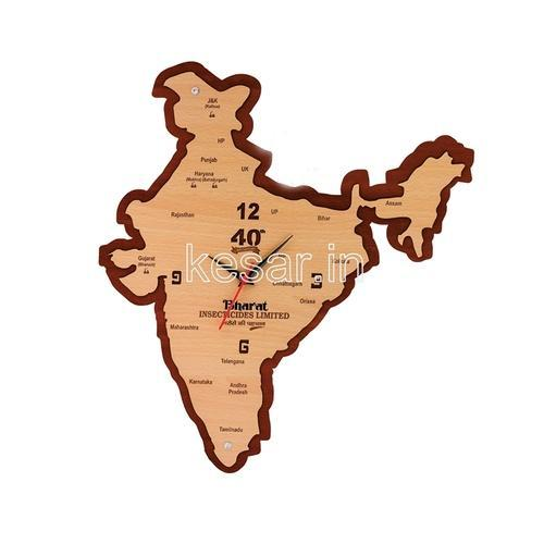 Brown india map wooden clock rs 425 piece kesar gift mart private brown india map wooden clock gumiabroncs Images