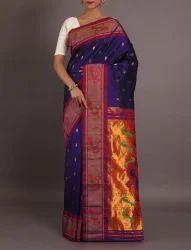 Navy Blue Party Wear & Wedding Wear Pure Paithani Silk Saree