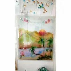 Glossy Rectangular Printed Designer Glass for Decoration