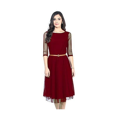 33328afd73435 Maroon Georgette And Net Ladies Short Dress, Rs 590 /piece | ID ...