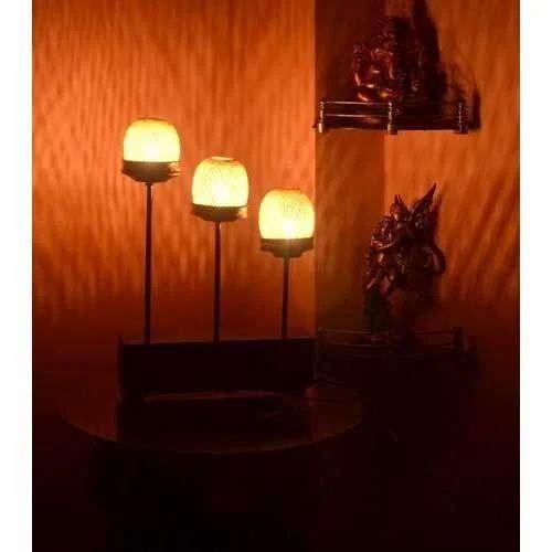 Sanjhbati  Handmade Bamboo Table Lamp -Three Pillars