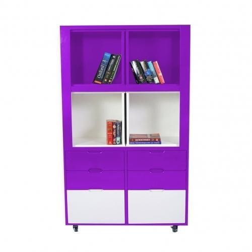 Expandable Book Shelf Creser Purple White Extendable Moving Cabinet, For Home & Office
