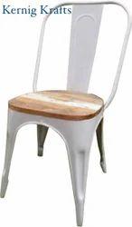 White Powder Coated Kernig Krafts Metal Stackable Cafe Restaurant Chair